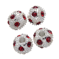 Rhinestone Spacers, Zinc Alloy, Round, silver color plated, with rhinestone, nickel, lead & cadmium free, 10mm, Hole:Approx 3.2mm, 50PCs/Lot, Sold By Lot