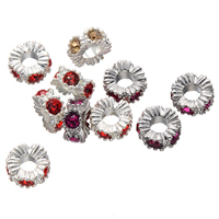 Rhinestone Spacers, Zinc Alloy, Flower, plated, with rhinestone, more colors for choice, nickel, lead & cadmium free, 14mm, Hole:Approx 5mm, 50PCs/Lot, Sold By Lot