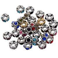 Rhinestone Spacers, Zinc Alloy, Flower, plated, with rhinestone, more colors for choice, nickel, lead & cadmium free, 12mm, Hole:Approx 5.1mm, 50PCs/Lot, Sold By Lot