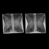Transparent Acrylic Beads, Square, faceted, 19x19x9mm, Hole:Approx 1mm, 2Bags/Lot, Approx 235PCs/Bag, Sold By Lot