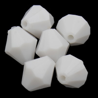 Solid Color Acrylic Beads, Bicone, faceted, white, 10x10mm, Hole:Approx 1mm, 2Bags/Lot, Approx 1000PCs/Bag, Sold By Lot