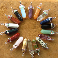 Gemstone Pendants Jewelry, with Zinc Alloy, pendulum, platinum color plated, natural & different materials for choice, nickel, lead & cadmium free, 12x37-39x10mm, Sold By PC