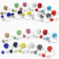 Double Faced Stud Earring, Clay Pave, with Zinc Alloy, stainless steel post pin, platinum color plated, with rhinestone, more colors for choice, 6-8mm, 10mm, Sold By Pair