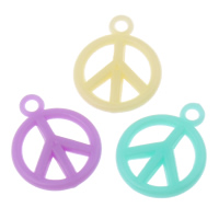 Acrylic Pendants, Peace Logo, candy style & solid color, mixed colors, 15x19x3mm, Hole:Approx 1mm, 2Bags/Lot, Approx 1660PCs/Bag, Sold By Lot