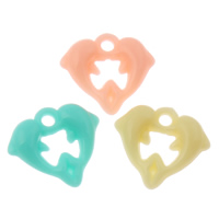 Acrylic Pendants, Dolphin, candy style & solid color, mixed colors, 17x15x5mm, Hole:Approx 1mm, 2Bags/Lot, Approx 1660PCs/Bag, Sold By Lot