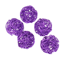 Iron Wire Bead, Round, painted, filigree, purple, nickel, lead & cadmium free, 17mm, Hole:Approx 1-3mm, 100PCs/Bag, Sold By Bag