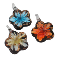Fashion Lampwork Pendants, Flower, handmade, gold sand & inner flower, mixed colors, 34x46x10mm, Hole:Approx 8x7mm, 12PCs/Box, Sold By Box