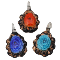 Fashion Lampwork Pendants, Flower, handmade, gold sand & inner flower, mixed colors, 30x48x12mm, Hole:Approx 8x6mm, 12PCs/Box, Sold By Box