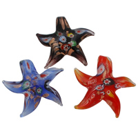 Fashion Lampwork Pendants, with Millefiori Glass, Starfish, gold sand, mixed colors, 53x50x13mm, Hole:Approx 8x10mm, 12PCs/Box, Sold By Box