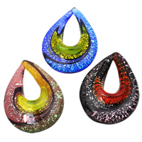 Silver Foil Lampwork Pendants, Teardrop, handmade, mixed colors, 40x53x13mm, Hole:Approx 13x27mm, 12PCs/Box, Sold By Box