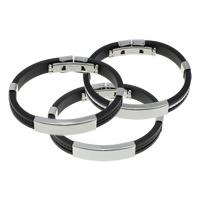 Mannen Armband & Bangle, Silicone, met Roestvrij staal, meer kleuren voor de keuze, 39x10.5x6mm, 9x4mm, Per verkocht Ca 8 inch Strand