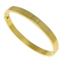 Bransoletka ze stali nierdzewnej, Stal nierdzewna, Platerowane w kolorze złota, 6x2.50mm, średnica wewnętrzna:około 58x50.5mm, długość:około 6.5 cal, sprzedane przez PC