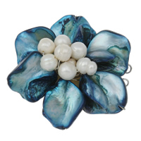 Freshwater Pearl Box Clasp, with Freshwater Shell & Brass, Flower, 3-strand & two tone, 42x39x23mm, Hole:Approx 1mm, Sold By PC