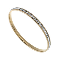 Stainless Steel Bangle, rose gold color plated, with rhinestone, 5x2.50mm, Inner Diameter:Approx 65mm, Length:Approx 8 Inch, Sold By PC