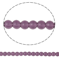 Round Crystal Beads, Violet, 4mm, Hole:Approx 1mm, Length:10.5 Inch, 10Strands/Bag, Sold By Bag