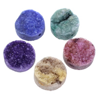Druzy Beads, Ice Quartz Agate, Flat Round, natural, druzy style & half-drilled, mixed colors, 20x10mm, Hole:Approx 1.5mm, 30PCs/Bag, Sold By Bag
