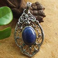 Wisiorki lapis lazuli, Syntetyczny lapis, ze Stop cynku, Platerowane kolorem starego srebra, z kamieniem, 40x24mm, otwór:około 3mm, sprzedane przez PC