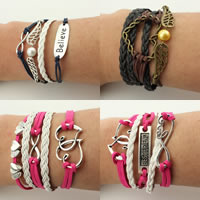 Combined Bracelet, PU, with Waxed Cotton Cord & Zinc Alloy, plated, different styles for choice & multi-strand, nickel, lead & cadmium free, 17-20mm, Length:Approx 7 Inch, 10Strands/Lot, Sold By Lot