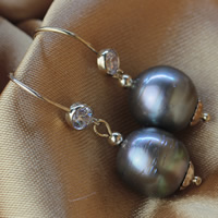 Tahitian Pearls Drop Earring with Brass Keishi natural with cubic zirconia black 11-12mm