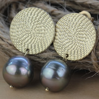 Tahitian Pearls Drop Earring with Brass Keishi natural black 10-11mm