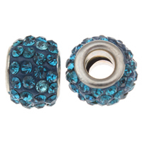 Rhinestone European Beads, Rhinestone Clay Pave, Drum, platinum color plated, brass double core without troll & with rhinestone, sapphire, 8x12mm, Hole:Approx 4.5mm, 30PCs/Bag, Sold By Bag