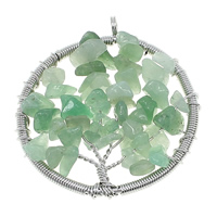 Natural Aventurine Pendants, Green Aventurine, with Brass, Tree, platinum color plated, nickel, lead & cadmium free, 47x53x10mm, Hole:Approx 5mm, 10PCs/Lot, Sold By Lot