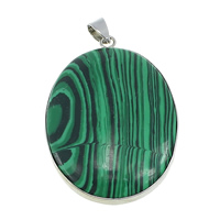 Malachite Pendants, with Brass, Flat Oval, platinum color plated, natural, nickel, lead & cadmium free, 31x45x7mm, Hole:Approx 4x5mm, 10PCs/Lot, Sold By Lot