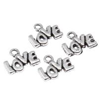 Klaring sieraden Hangers, Zinc Alloy, woord liefde, antiek zilver plated, nikkel, lood en cadmium vrij, 12x10x2mm, Gat:Ca 1.5mm, 50pC's/Bag, Verkocht door Bag