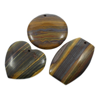 Natural Tiger Eye Pendants, 34x52x6mm-43x49x7mm, Hole:Approx 2mm, 5PCs/Bag, Sold By Bag