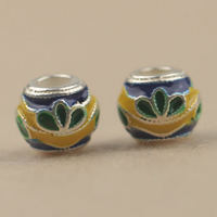 925 Sterling Silver European Beads, Drum, imitation cloisonne & enamel, 8mm, Hole:Approx 4mm, 10PCs/Lot, Sold By Lot