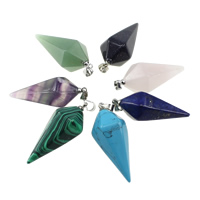 Gemstone Pendants Jewelry with brass bail pendulum platinum color plated natural   different materials for choice nickel lead   cadmium free 16x32mm Hole:Approx 4x5mm