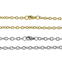 Stainless Steel Nekclace Chain, plated, oval chain, more colors for choice, 2.50x2x0.50mm, Sold Per Approx 20 Inch Strand