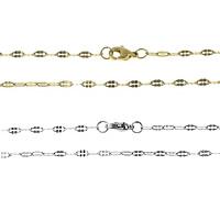 Stal nierdzewna Nekclace Chain, Powlekane, owalne łańcucha, dostępnych więcej kolorów, 5x2x0.30mm, długość:około 18 cal, sprzedane przez wiele
