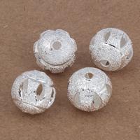 Messing kralen, Ronde, silver plated, hol, nikkel, lood en cadmium vrij, 10mm, Gat:Ca 2mm, 20pC's/Bag, Verkocht door Bag