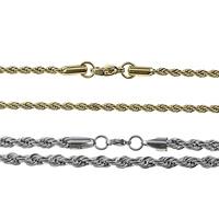 Stal nierdzewna Nekclace Chain, Powlekane, lina łańcucha, dostępnych więcej kolorów, 2mm, długość:około 16 cal, sprzedane przez wiele