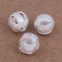 Messing kralen, Ronde, silver plated, hol, nikkel, lood en cadmium vrij, 6mm, Gat:Ca 1mm, 20pC's/Bag, Verkocht door Bag