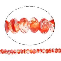Кристальные бусины Европейская стиль, Кристалл миллефиори, Круглая форма, без Тролль, красно-оранжевый, 14x7mm, отверстие:Приблизительно 6mm, 50ПК/Strand, Продан через 14 дюймовый Strand