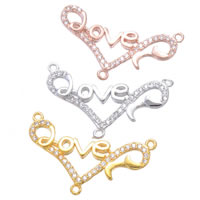 Cubic Zirconia Micro Pave Brass Connector, Heart, word love, plated, micro pave cubic zirconia & 1/1 loop, more colors for choice, nickel, lead & cadmium free, 27x15mm, Hole:Approx 1.1mm, 5PCs/Lot, Sold By Lot