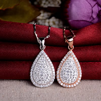 Rhinestone Pendant, 925 Sterling Silver, with Clay Pave, Teardrop, plated, with Czech rhinestone, more colors for choice, 13x27mm, Hole:Approx 3x5mm, 5PCs/Lot, Sold By Lot