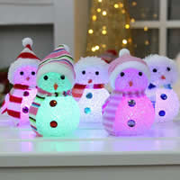 Plastic Night Light, Christmas jewelry & LED & with rhinestone & mixed, 100x60mm, Hole:Approx 1.5mm, 3PCs/Bag, Sold By Bag