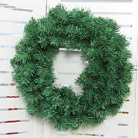 Plastic Christmas Wreath, Christmas jewelry & different size for choice, green, Sold By PC