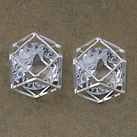 Cubic Zirconia Cabochons, Brass, with Cubic Zirconia, platinum color plated, nickel, lead & cadmium free, 15.50x15.50x13.50mm, 100PCs/Lot, Sold By Lot