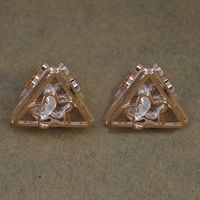 Cubic Zirconia Cabochons, Brass, with Cubic Zirconia, Triangle, rose gold color plated, nickel, lead & cadmium free, 18x16.50x17mm, 100PCs/Lot, Sold By Lot