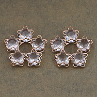 Cubic Zirconia Cabochons, Brass, with Cubic Zirconia, Flower, rose gold color plated, nickel, lead & cadmium free, 25.50x24x5mm, 100PCs/Lot, Sold By Lot