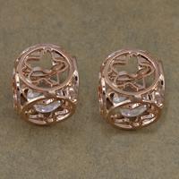 Cubic Zirconia Cabochons, Brass, with Cubic Zirconia, Cube, rose gold color plated, nickel, lead & cadmium free, 14x14x14mm, 100PCs/Lot, Sold By Lot