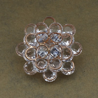 Cubic Zirconia Cabochons, Brass, with Cubic Zirconia, Flower, rose gold color plated, nickel, lead & cadmium free, 37x36x16mm, Hole:Approx 6.5mm, 20PCs/Lot, Sold By Lot