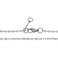 Stal nierdzewna Nekclace Chain, owalne łańcucha, oryginalny kolor, bez zawartości niklu, ołowiu i kadmu, 3x2x0.20mm, długość:około 17 cal, 70nici/wiele, sprzedane przez wiele