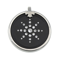 Lava Pendant, with 316 Stainless Steel, Flat Round, natural, with rhinestone, 46x6mm, Hole:Approx 4.5mm, 3PCs/Lot, Sold By Lot