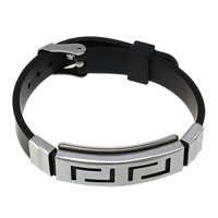 Men Bracelet, Silicone, with Stainless Steel, black, nickel, lead & cadmium free, 38.5x15x8mm,10mm, Sold Per Approx 8.5 Inch Strand