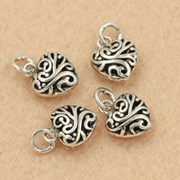 Brass Heart Pendants, antique silver color plated, hollow, lead & cadmium free, 10x15mm, Hole:Approx 2-3mm, 5PCs/Bag, Sold By Bag